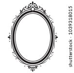 oval frame and border black and ... | Shutterstock .eps vector #1039318015