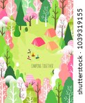 spring camping and traveling | Shutterstock .eps vector #1039319155