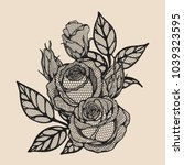 rose vector lace by hand...   Shutterstock .eps vector #1039323595