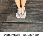 selfie blue shoes isolated on... | Shutterstock . vector #1039324405