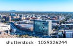 A panoramic view overlooking the Arizona State University campus district from atop A-Mountain, also known as Tempe Butte Mountain.