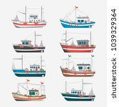 fishing boats side view... | Shutterstock . vector #1039329364