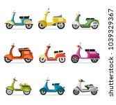 vintage scooters set in flat... | Shutterstock . vector #1039329367