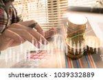 double exposure yong...   Shutterstock . vector #1039332889