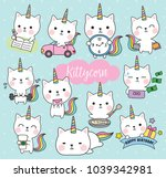 Stock vector vector illustration of cute white cat unicorn or caticorn life activity planner including working 1039342981
