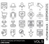 seo   web line icons. page... | Shutterstock .eps vector #1039343131