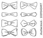 vector set of sketch bowties.... | Shutterstock .eps vector #1039343497