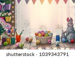 happy easter  background with... | Shutterstock . vector #1039343791
