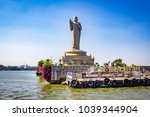sailing by the giant buddha... | Shutterstock . vector #1039344904
