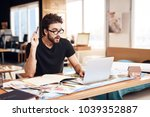 freelancer bearded man in t... | Shutterstock . vector #1039352887