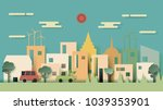 green eco friendly energy city... | Shutterstock .eps vector #1039353901