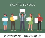 children holding a blank note... | Shutterstock .eps vector #1039360507