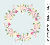 pink flowers wreath isolated on ... | Shutterstock .eps vector #1039364374