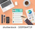 hand writing curriculum vitae... | Shutterstock .eps vector #1039364719