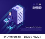 server room  data management... | Shutterstock .eps vector #1039370227