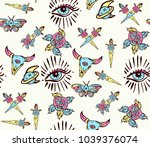 esoteric color tattoo seamless... | Shutterstock .eps vector #1039376074