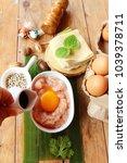 wrap pork dumplings is...   Shutterstock . vector #1039378711