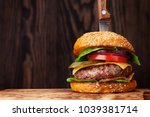 tasty grilled home made burger... | Shutterstock . vector #1039381714