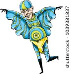 a cartoon superhero man dressed ... | Shutterstock .eps vector #1039381837