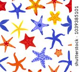 sea stars seamless pattern.... | Shutterstock .eps vector #1039385101
