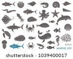 silhouettes of sea inhabitants. ... | Shutterstock .eps vector #1039400017