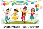 children in carnival costumes ...   Shutterstock .eps vector #1039401985