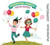 children in carnival costumes ...   Shutterstock .eps vector #1039401991