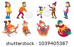 caucasian white people playing... | Shutterstock .eps vector #1039405387