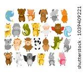 vector cute animals. owl  panda ... | Shutterstock .eps vector #1039409221