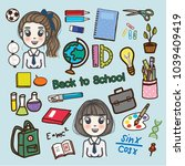 set hand draw back to school... | Shutterstock .eps vector #1039409419