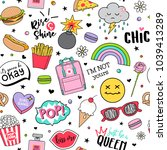 cute funny doodles seamless... | Shutterstock .eps vector #1039413289
