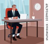 angry businessman sitting on... | Shutterstock .eps vector #1039416769