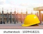 safety helmet in construction... | Shutterstock . vector #1039418221