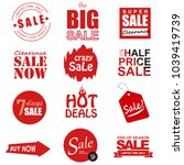 set of sale icons  banners ... | Shutterstock . vector #1039419739