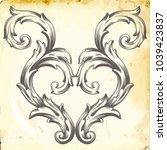 retro baroque decorations... | Shutterstock .eps vector #1039423837