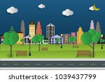 paper art and park on green... | Shutterstock .eps vector #1039437799
