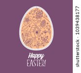 happy easter. easter egg with... | Shutterstock .eps vector #1039438177