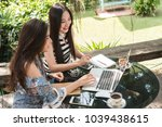 two teenage women meet in...   Shutterstock . vector #1039438615