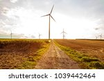rural landscape with wind... | Shutterstock . vector #1039442464