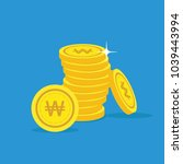 won gold coin stack. financial... | Shutterstock .eps vector #1039443994