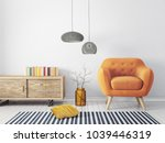 modern living room  with yellow ... | Shutterstock . vector #1039446319