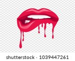 trendy isolated drip lips with... | Shutterstock .eps vector #1039447261