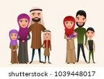 happy arab family with children ... | Shutterstock . vector #1039448017