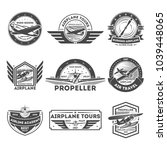airplane vintage isolated label ... | Shutterstock . vector #1039448065