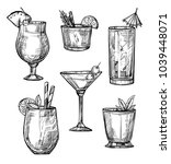 alcoholic cocktail hand drawn... | Shutterstock . vector #1039448071
