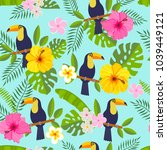 seamless pattern with toucan ... | Shutterstock .eps vector #1039449121