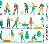 people working in garden design ... | Shutterstock .eps vector #1039449124