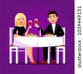 couple at the restaurant having ... | Shutterstock .eps vector #1039449151