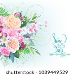 wedding bouquet with roses and...