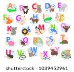 children abc with cute animals... | Shutterstock .eps vector #1039452961